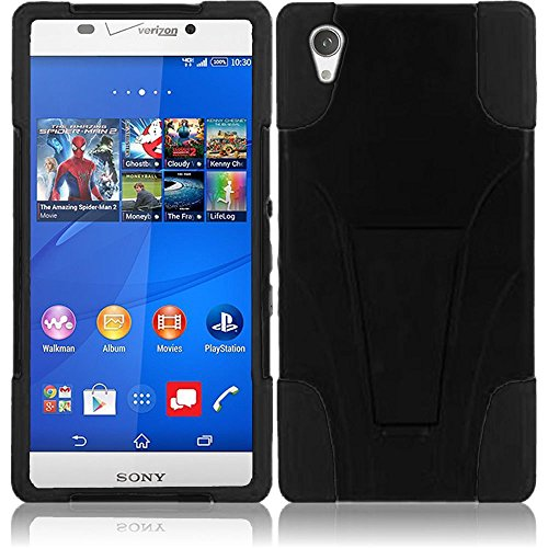 Sony Phone Faceplates (LF 3 in 1 Bundle - Hybrid Dual Layer Case with Stand, Stylus Pen & Screen Wiper for (Verizon) Sony Xperia Z3v, (Stand Black))