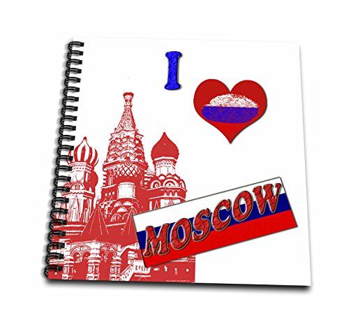 3dRose db_216452_1 I Love Moscow. Russia. Russian Flag. Popular Saying. Drawing Book, 8 by 8