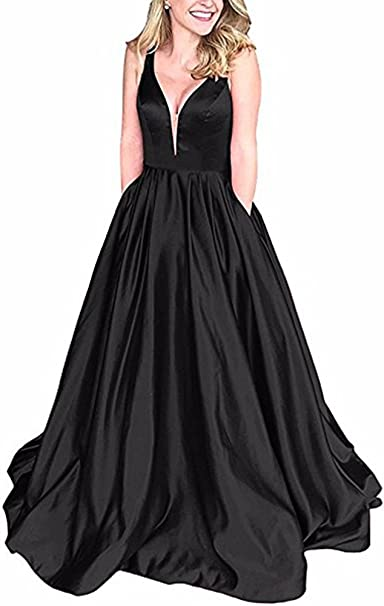 Andybridal Ball Gown Black Deep V Neck Satin with Pockets Plus Size Prom  Dress