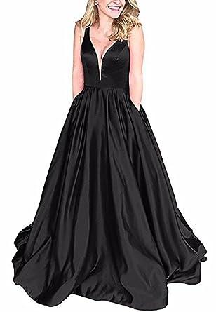563ae1b4eebd4 Andybridal Ball Gown Black Deep V Neck Satin with Pockets Plus Size Prom  Dress Black 2