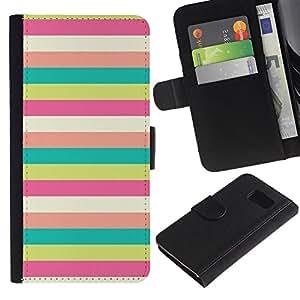 LASTONE PHONE CASE / Lujo Billetera de Cuero Caso del tirón Titular de la tarjeta Flip Carcasa Funda para Samsung Galaxy S6 SM-G920 / Sunny Beach Pattern Pastel Teal