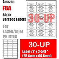 """30-UP - 600 Amazon FBA Shipping Labels 1""""×2-5/8"""" on A4 White Self Adhesive Shipping Mailing stickers for Laser/InkJet Printer 20 Sheets"""