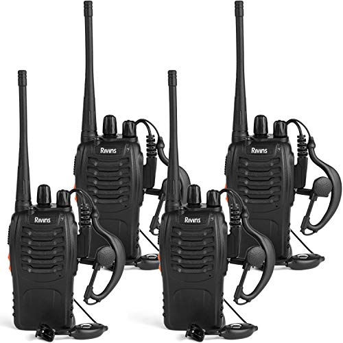 Rivins RV-9 Walkie Talkies Rechargeable for Adults UHF 400~470MHz 16 Channel Long Range Two Way Radio with Charger and Earpiece (4 Pack)