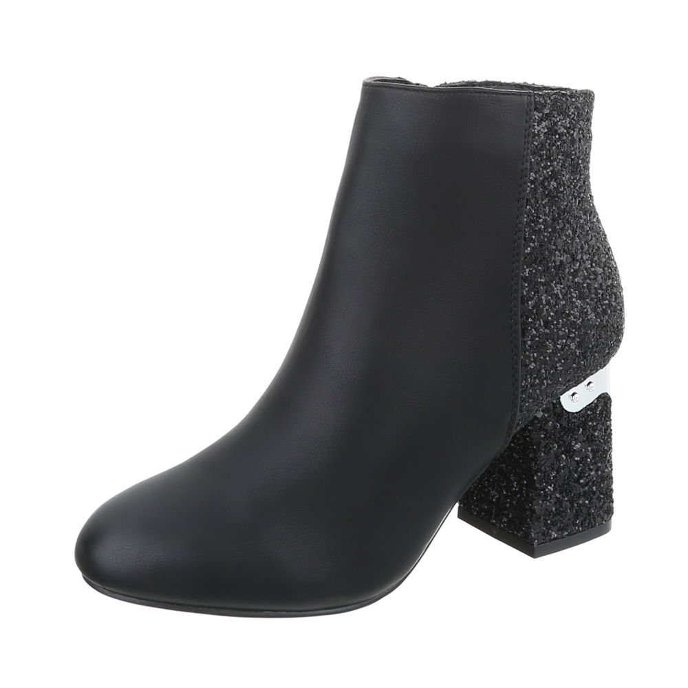 Ital-Design High Heel Stiefeletten Damenschuhe High Heel Stiefeletten Pump High Heels Reißverschluss Stiefeletten  37 EU|Schwarz T157