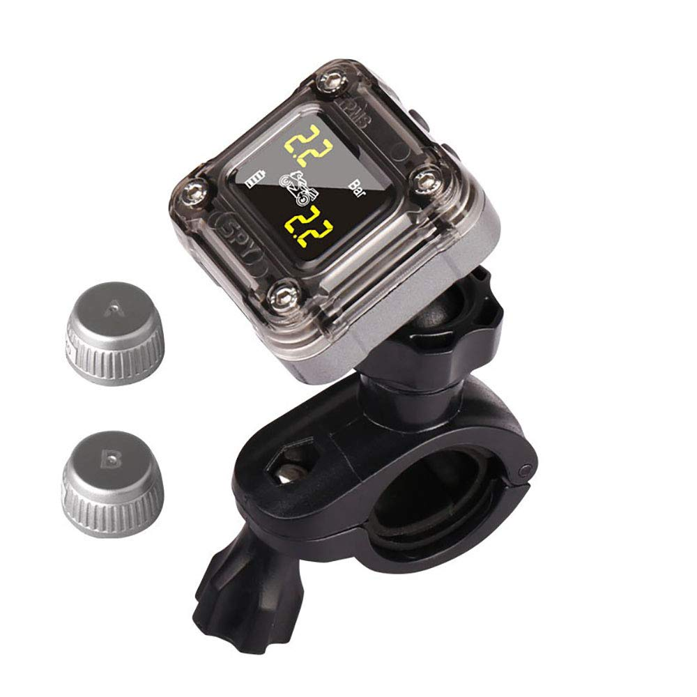 BFYH Motorcycle tire pressure monitoring system, (TPM) + two external sensors for motorcycles (black)