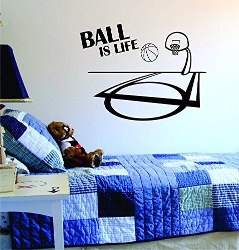Ball Is Life Basketball Court Wall Decal Vinyl Art Sticker Sport Boy Girl Teen Baby NBA by Boop Decals