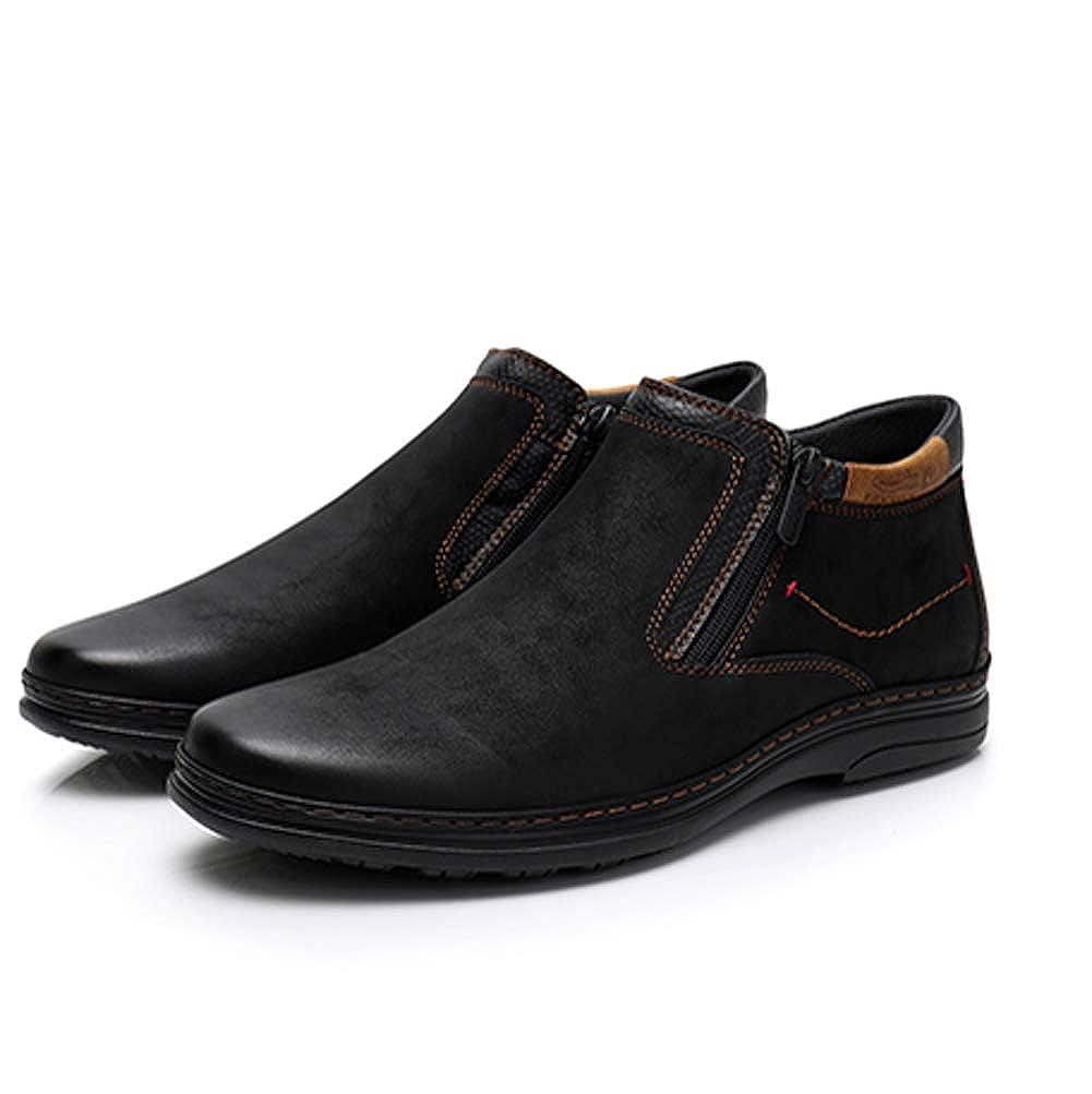 Botines para Hombre Botas de Gamuza de Lado con Doble Cremallera para Hombres Ocasionales Botas para Caminar: Amazon.es: Zapatos y complementos