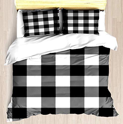 ZOMOY Gingham (Black/White) Duvet Cover Set Designed Pattern Comforter Bedding Cover Pillow Shams 3 Piece Bed Duvet Cover King/Cal King