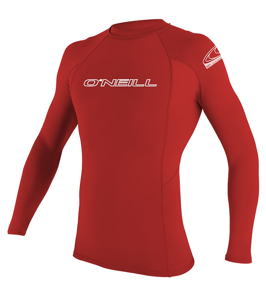 O'Neill Men's Basic Skins UPF 50+ Long Sleeve Rash Guard, Red, Small
