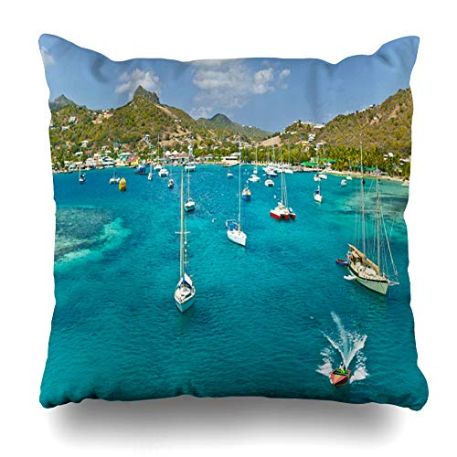 (Ahawoso Throw Pillow Cover Square 18x18 Holiday Blue Barbados Anchoring Sailbooats Shallow Waters Union Saint Island St Vincent Parks Grenada Grenadines Boat Pillowcase Home Decor Cushion Case)