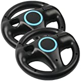 AMEEGO Steering Wheel Design Stand Mario Kart Racing Game Steering Wheel Stand For Wii Game Controller 2PCS (Black)