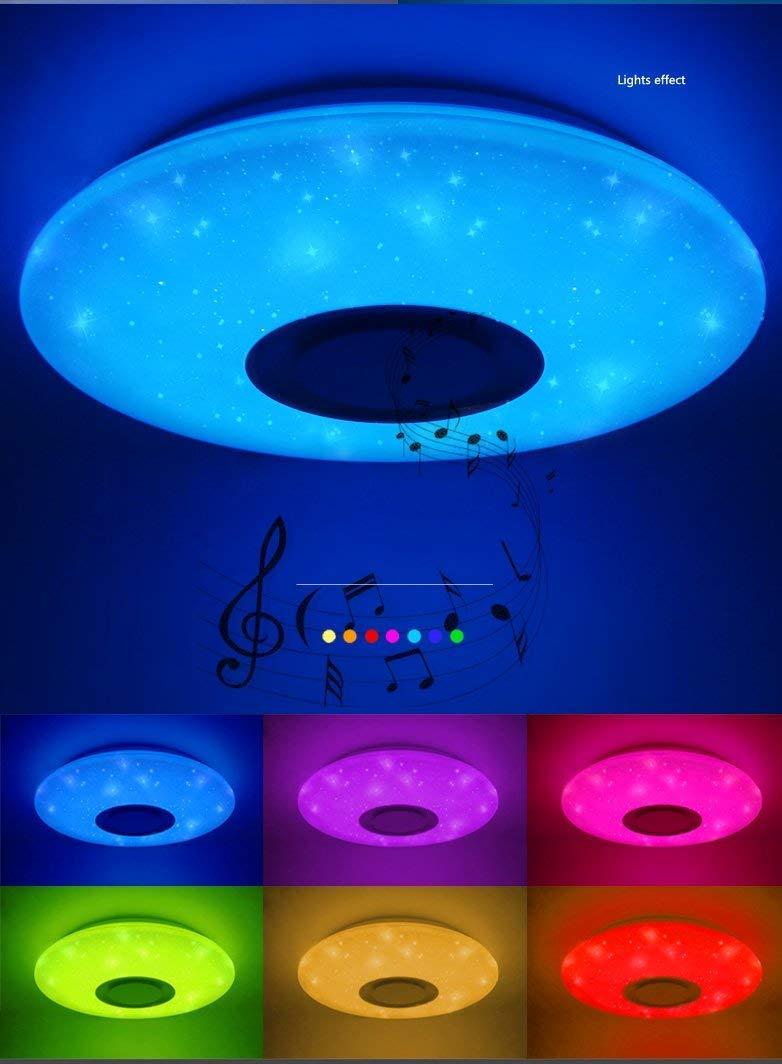 HOREVO 36W Lámpara de techo Regulable Plafón LED con Altavoz Bluetooth, APP + Mando a distancia, blanca cálida/fría RGB cambio de color, ...