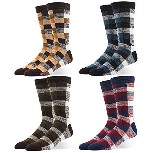RioRiva Men Formal Dress Trouser Socks Mid Calf British plaid pattern Box Pattern (US Men Size 8-14/EU 42-49, BSK02Y-Pack of 4)