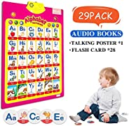 MEckily Talking Electronic Alphabet Poster and Enlightenment FlashCards, Educational Learning Toy for Preschoo