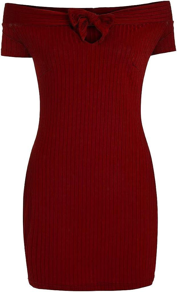 Uscharm Flat Shoulder Dress Womens Ladies Solid Short Sleeve Off Shoulder Mini Key Hole Summer Dress