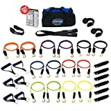Bodylastics (Genuine) 31 pcs Resistance Bands Set *MEGA RESISTANCE with 14 Stackable anti-snap exercise tubes, Heavy Duty components, Large gym bag and printed instructions for the top muscle building exercises. by Bodylastics