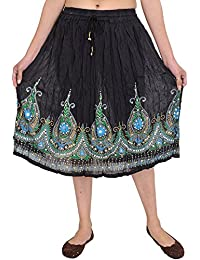 Exotic India Short Skirt With Printed Flowers and Embro