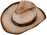 TAUT Unisex Woven Straw Cowboy Ranch Hat with Shapeable Brim Brown Bead_Natural
