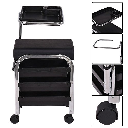 Black Pedicure Manicure Nail Cart Trolley Stool Chair Salon SPA With Shelves New from Unknown
