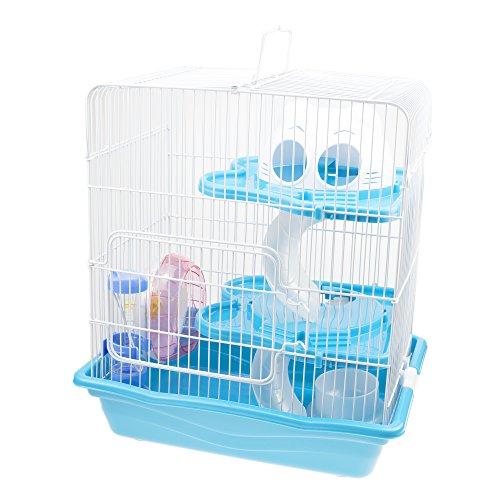 GNB PET Hamster Cage DIY Pet Mice Habitat, Multi-Level Habitat for Exotics with Complete Accessories, Blue