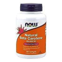 NOW Supplements, Natural Beta Carotene 25,000 IU, Essential Nutrition, 180 Softgels