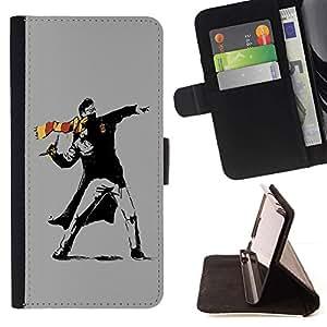 For Huawei Ascend P8 (Not for P8 Lite) Case , Street Art Rebel- la tarjeta de Crédito Slots PU Funda de cuero Monedero caso cubierta de piel