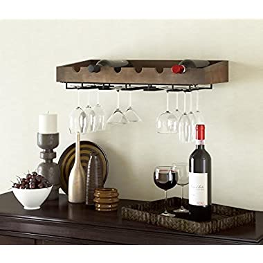 ArtifactDesign Wall Mounted Wood Wine Rack for 6 Bottles with Stemware Glass Storage , Walnut