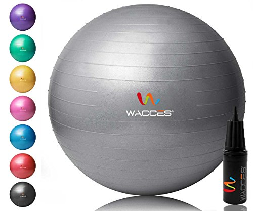 Wacces 52N7 Yoga Ball with Hand Pump Gray, 75 cm