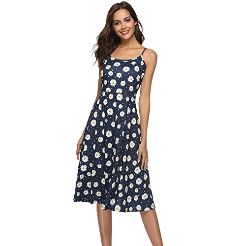 ♥ HebeTop ♥ Women's Sexy Boho V-Notch Sleeveless Beach Floral Mini Dress Spaghetti Strap Swing Skater Sundress Blue