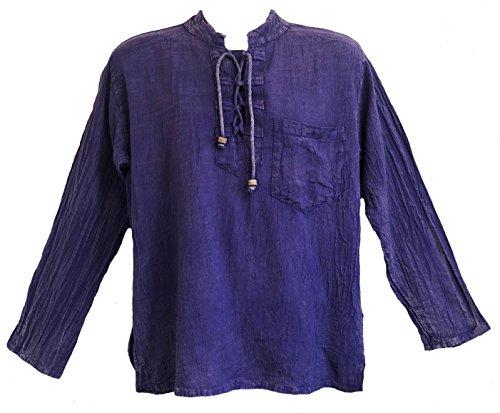 Yak & Yeti Men's Kurta Stone Washed Lightweight Cotton Embroidered Mandarin Style Collar (XXL, Purple Lace - Stone Embroidered