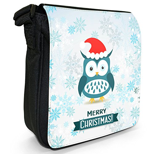 Size Winter Small Black Wonderland Animals Wearing Santa Owl Bag Canvas Shoulder Snowflakes Hat Z8trwqZ
