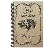 Personalized recipe book with kraft cover, handmade gift, 5.5x8.5' (LINED PAGES)
