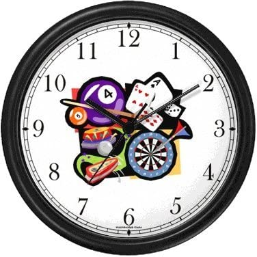 Cards, Darts, Pool or Billiards, Pinball Gambling or Casino Theme Wall Clock by WatchBuddy Timepieces Hunter Green Frame