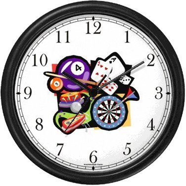 Cards, Darts, Pool or Billiards, Pinball Gambling or Casino Theme Wall Clock by WatchBuddy Timepieces (Black Frame)