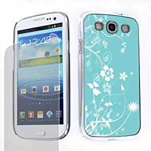 Bundle - 2 Items: Hard Cover Case (White Floral/Blue) + One Tough Shield (TM) Clear Screen Protector for Samsung Galaxy S-III S3 (AT&T T-Mobile Sprint Verizon)
