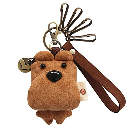 SUPERCB cion Purse Small Bag Key Ring Money Wallet Dog Toy Cut Brown from SUPERCB