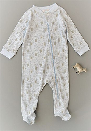 Feather Baby Boys Clothes Pima Cotton Long Sleeve Zipper Sleep 'N Play Footie Coverall Romper, 3-6 Months, Sloth-Grey on Baby Blue by Feather Baby (Image #1)