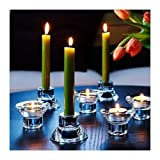 Royal Glass (Set of 8) Unique Reversible Tea Light Candle Holder Design, 2' Height, Stackable, Romantic Atmosphere, Wedding, Modern Simple and Elegant