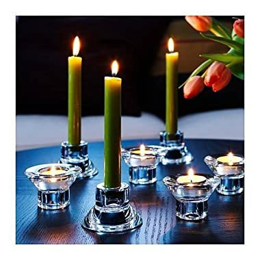 Royal Glass (Set of 8) Unique Reversible Tea Light Candle Holder Design, 2  Height, Stackable, Romantic Atmosphere, Wedding, Modern Simple and Elegant