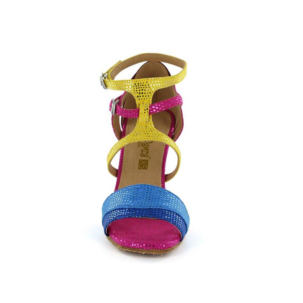 XUE Frauen Latin Schuhe Ballroom Schuhe Kunstleder Ferse Schnalle Ferse Ferse Ferse Tanz Schuhe Fuchsia Party & Abend (Farbe   EIN Größe   36) 6a539b