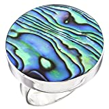 Size 9 Adjustable Round Paua Abalone Shell Handmade 925 Sterling Silver Ring