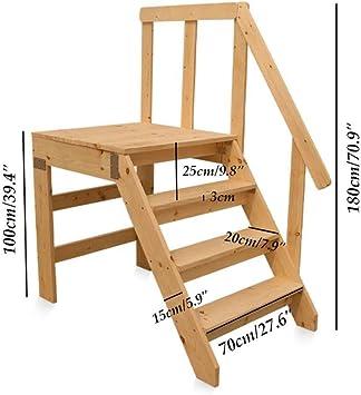 GBX Taburete, Silla de Escalera para el Hogar Escalera de Madera con Pasamanos Taburete Escalera Jardín Escalera Robusta de Pedal Ancho: Amazon.es: Bricolaje y herramientas