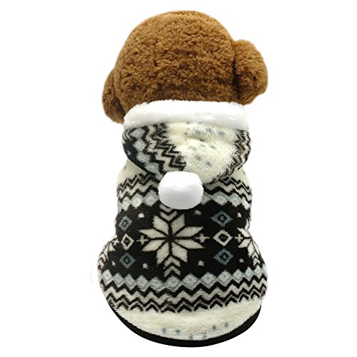 Beirui Cute Fleece Dog Jacket Pajamas Pajamas - Dogs Winter Coat Soft Thermal Padded Vest - Warm Pet Jumpsuit Dog Accessories Hoodie,Brown 14