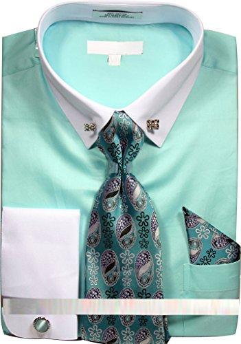 Men's Solid Dress Shirt with Collar Bar and Tie Handkerchief Cufflinks - Mint 16.5 3637