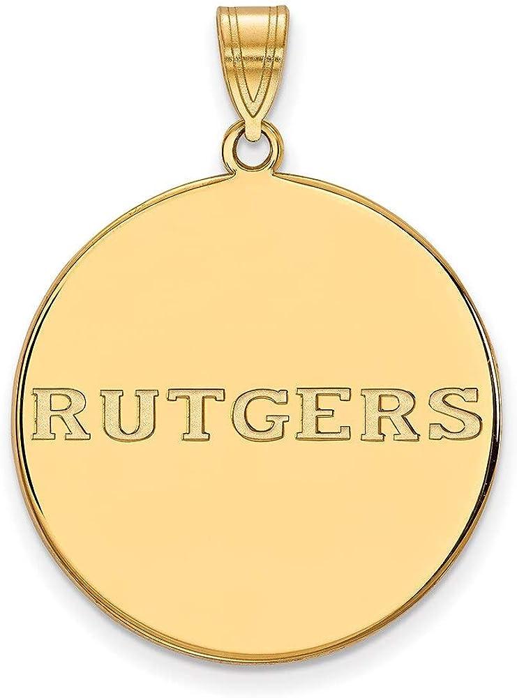 Lex /& Lu LogoArt Sterling Silver w//GP Rutgers XL Disc Pendant LAL140601
