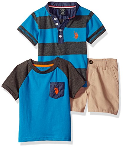 - U.S. Polo Assn. Baby Boys T-Shirt and Short 3 Piece Set, Blue Chambray Collar Orange Pocket Turquoise, 24M
