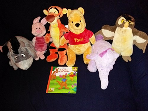 Disney's Winnie the Pooh and Friends Pooh, Piglet, Tigger, Eeyore, Heffalump Lumpy Elephant, and Owl Plush Set and Is My Shirt Getting Smaller Hardcover Book -
