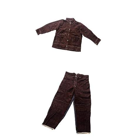 LOVIVER - Trajes de soldadura resistentes al calor y a las llamas, camisa marrón antiquemaduras XL + pantalones XL, ropa protectora para soldador, 2 unidades, color marrón: Amazon.es: Industria, empresas y ciencia