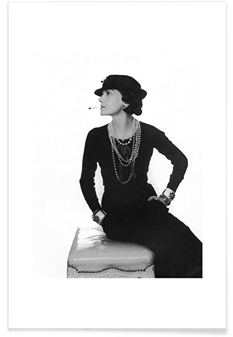 Juniqe posters 20x30cm black white celebrities design coco chanel format