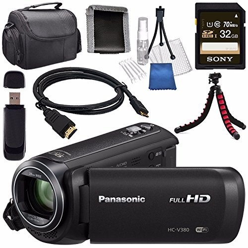 Panasonic HC-V380 HC-V380K Full HD Camcorder + Sony 32GB SDHC Card + Lens Cleaning Kit + Flexible Tripod + Carrying Case + Memory Card Wallet + Card Reader + Mini HDMI Cable Bundle by Panasonic